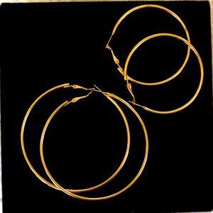 """Free People Classic Pair Hoop Earrings 2"""" and 3"""""""
